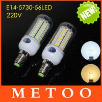 E14 220V Cree SMD 5730 56LEDs Corn Bulbs Led lamps Spotlights Max 18W Energy Efficient lights lighting 10Pcs/Lot