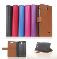 Touch Stylus+Luxury Litchi Wallet PU Flip Leather Phone Bag Case With Credit Card Slots For HTC Desire 310 D310W