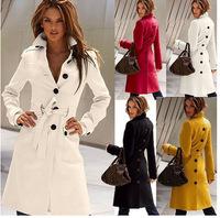 Hot 2014 New European & American women clothing woollen coat Winter long paragraph Slim casacos femininos sobretudo with belt