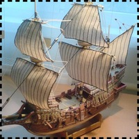 The golden deer sail ships Paper model 1:100 sailing DIY craft paper art work paper military model ships toys collection gift