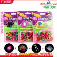 Hot Sale20pcs/Lot!2014Hot Fashion DIY Kids Kit Rubber bands Bracelet Watch Set Kids Toys Creative Loom Bands Watch,Free shipping