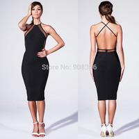 New Brand 2014 Sexy Womens Clubwear Dress Black Mesh Panel Knee Length Midi Dress High Waist Celeb Summer Pencil Dress 0827