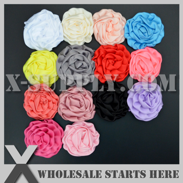 """Free Shipping 3"""" Rolled Flowers Satin Rolled Rosette Fabric Flowers Flat Back For Hair Accessories(China (Mainland))"""