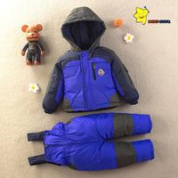 New 2014 Winter Children's White Duck Down Jacket + down Bib pants clothing set Baby's bodysuits Boys Girls twinset Kids Parka