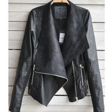 2014 New Arrival Women Leather Jacket Slim Leather Motorcycle Jacket Turn Dow Long Sleeve Zipper Jacket Coat Free Shipping(China (Mainland))