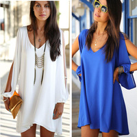 Plus size 2014 New Womens Celebrity Midi Dress, Ladies White A-line Sexy Sleeveless Short Chiffon Dresses ZXL D47002