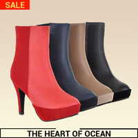 Free Shipping Women PU Ankle Boots Patchwork Mix Colors Boots Feminine High Heel Short Boots S116