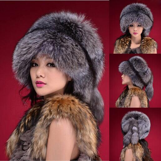 Free Shipping 2014 New Fashion Elegant Women Winter Hat Black White Beanies Unisex Artificial Faux Fox Fur Hats Caps Women(China (Mainland))