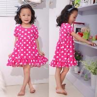 2014 Fashion Girl Dress Princess vestidos infantis  Ruffle Dots Baby Girls Dress