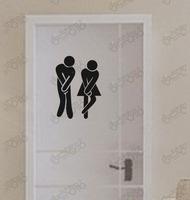 1PCS Free Shipping PVC Adhesive Toilet Sticker Creative Restroom WC Door Decor 0977