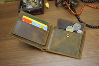 Vintage Casual Genuine Leather Crazy Horse Leather Cowhide Men Short Bifold Wallet Wallets Purse For Men With Coin Pocket 1006