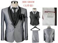 2014 Brand Men Dress Suits tuxedos Fashion Wedding groom suit  For Men 5 Piece Set (coat + Pants + Ma3 Jia3+ Tie + Square Towel)