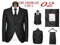 New 2014 Brand Men groom suit  Fashion Wedding Suits For Men 5 Piece Set (Jacket + Pants + Ma3 Jia3+ Tie + Square Towel)