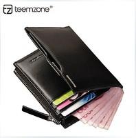 2014 new Men's Genuine Leather Bifold wallet purse Card Coin Cash Receipt Holder License Pocket men wallets freeshipping