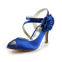 Free Shipping Fabulous Brides Tops Brand New Gorgeous Satin Womens Stiletto Heel Peep Toe With Flower Wedding Shoes YY0031
