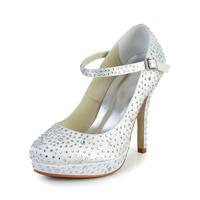 Free Shipping!Shinning Satin Stiletto Heel Wedding Shoes With Rhinestone CY0242