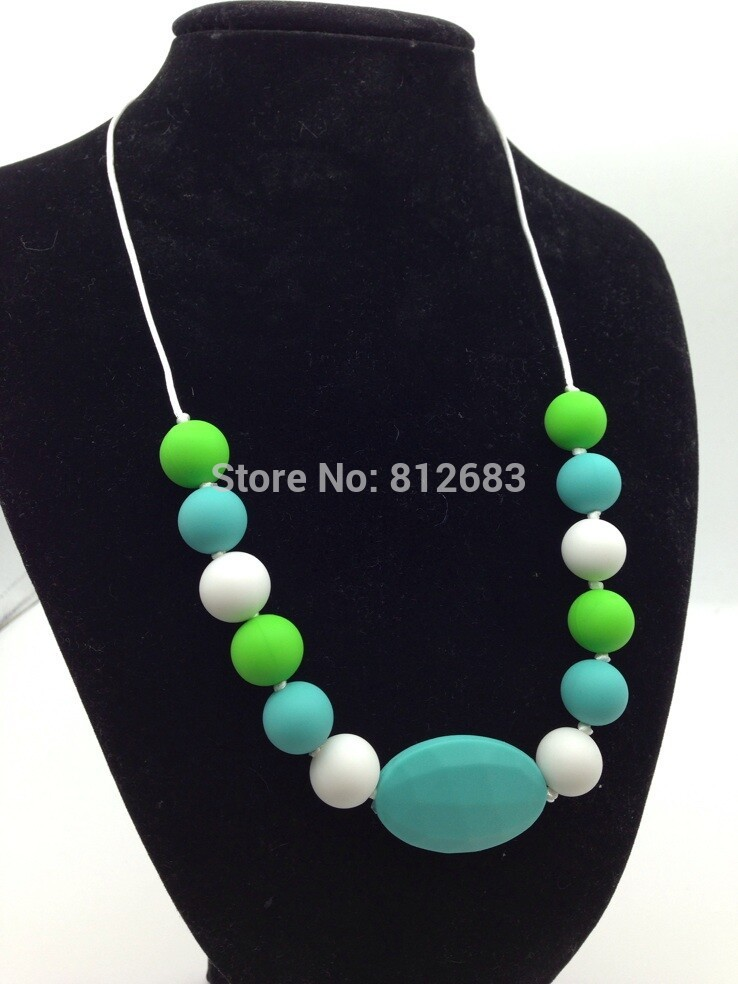 New Silicone Teething Necklace - Mom Wears, Baby Chews - Green Blue White Free shipping(China (Mainland))