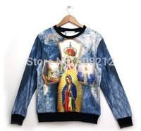 Hot Thicken Fashion Women/Men casual 3D Streetwear Hoodies Sweatshirts Jesus Crown Cross print sportwear Cool Tops Free Shipping