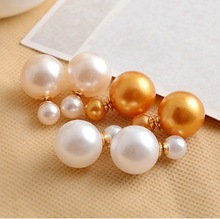 2015 New fashion brand women s pearl candy piercing statement wedding stud earrings double faced A1292