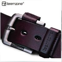 teemzone brand men Cowhide Leather  Vintage Antique Belt Business Style Dress Jean Single Prong Belts freeshipping
