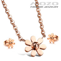 Wholesale 2014 New fashion jewelry sets titanium steel Rose gold plated Flowers Women necklace pendant stud earrings Gift TY106
