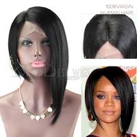 Fashion Celebrity Rihana's bob wig lace front, 6A Grade Brazilian virgin hair Silky Stragiht black color short bob wig