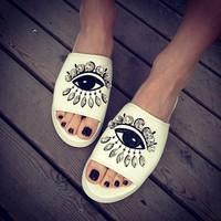 Fashion vintage 2014 HARAJUKU embroidered rhinestone big eyes platform sandals platform slippers female shoes flat shoes women