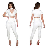 NEW! 2014 New Fashion Rompers Womens Jumpsuit Sexy White Playsuit Club Bodysuits Elegant  Bandage Jumpsuits
