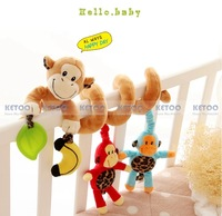 0-12 months Musical monkey  Multifunctional bed Hanging with Bell Baby Educational Toys Rattles for Kids Best Gift Free shipping
