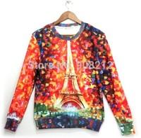 2014 Free Shipping Women/Men hoodies Sweatshirts galaxy Space Paris Eiffel Tower 3D print O-neck pullover Tops tshicken fleece