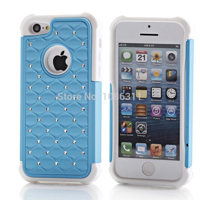 Free Fedex Chromed Hard With Bling Rhinestone Starry Diamond Case for iPhone 5C 50pcs/lot(China (Mainland))