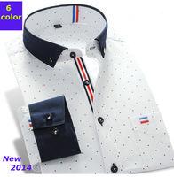 New 2014 men  Fashion  casual   slim fit  shirt    long Sleeve  polka Dot   shirts  CYH3001-7  XS S M L  XL XXL