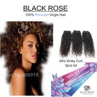 Rose Hair Products Peruvian Virgin Hair Kinky curly 6A Unprocessed Virgin Peruvian Hair 3 Bundles Deal Human Hair Weave For Sale