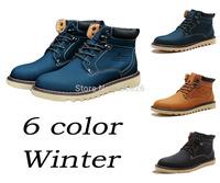 Retro Winter Boots England-style Fashion Riding Men Boots Men's Shoes Fishing Rubber Boots Bota Cotton+Flannel Hunt Snow Warm