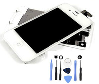 White LCD+ Touch Panel Digitizer + Back Cover+ Button +Tools Assembly For iPhone 4 GSM Conversion Kits
