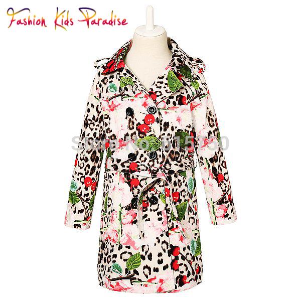 Top Quality 2014 new brand girls coat,designer children leopar print coat,baby&kids outerwear&coat,girls' jackets coat, 2-12Y(China (Mainland))