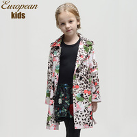 Top quality new 2014 WL Monsoon Italy designer children trench,fashion print floral girl outerwear&coats,girl's coat 2-12Y