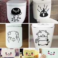Trumpet toilet stickers removable wall stickers 4 cartoon stickers + plus 3 smiley stickers wall sticker home decal decor