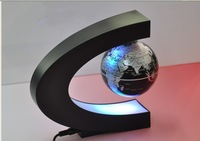 C shape Magnetic Levitation Floating Globe World Map with LED Lights nice decoration home gift  free shipping