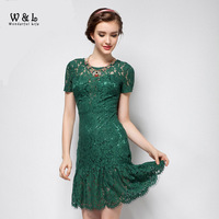 2014 Women Short Sleeve Green Black Lace Dress Hollow Out Sexy Slim Vestido Vintage Floral Flower Embroidery Dresses