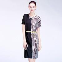 women summer dress New Summer New Fashion 2014  Women Black And White Plaid Tight Dress