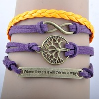 Hot NEW fashion purple orange rope infinity tree of life where there is a will there is a way  leather bracelet charm bracelet