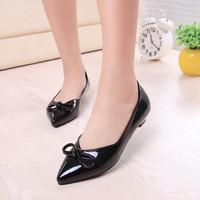 2014 autumn bowknot shoes women work shoes Shallow low heel shoes women fashion pumps yyx73