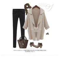 sobretudos femininos 2014 women's coat outerwear turn-down collar long pea coat women wool coat knit cardigan,cashmere coat