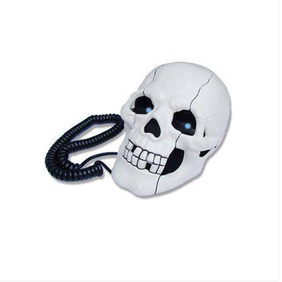 Creative Skull Skeleton Corded House Decoration Telephone Set LED Flash Eyes(China (Mainland))