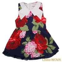 peppa pig party kids ches girls summer   kids wear with loral cotton sleeveless navy ball gown lace Princess  dresses