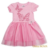 calcinha  Hm-y piece lovely and beautiul butterlies and lower embroidery summer party dress or baby girls peppa pig party