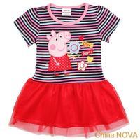 roupas de bebe lovely peppa pig girls kids brand children  embroidery stripped tunic top summer cotton pepa