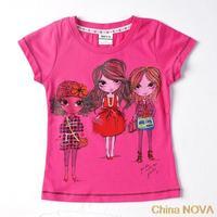 pepa girls beautiul t shirt  kids children ches printed beautiul cartoon girls summer short sleeve cotton T-shirts K   meias