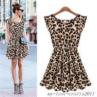 Fashion Women  Leopard Casual Cocktail  Party Mini Summer Dress